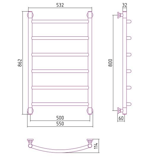 Полотенцесушитель водяной Сунержа Галант+ 00-0200-8050 (800х500 мм)