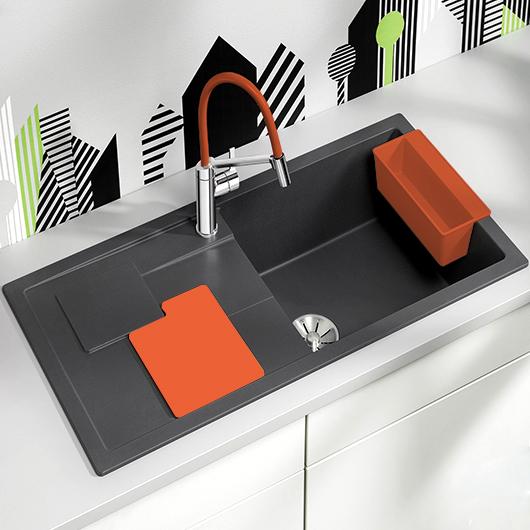Мойка кухонная Blanco Sity XL 6 S 525056 (антрацит/апельсин, 1000х500 мм)
