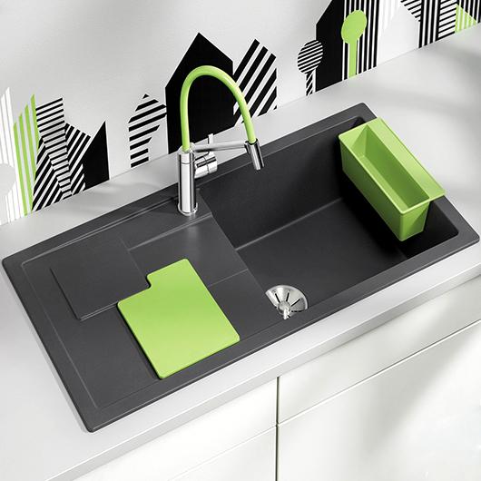 Мойка кухонная Blanco Sity XL 6 S 525060 (антрацит/киви, 1000х500 мм)