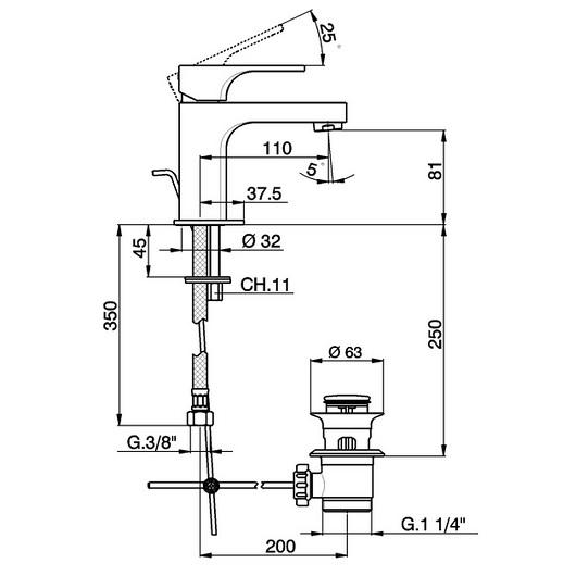 Смеситель для раковины Cisal Cubic CU00051121 (хром глянцевый)