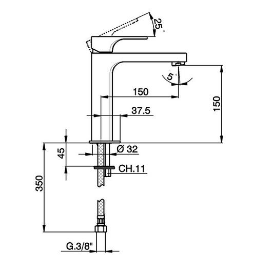 Смеситель для раковины Cisal Cubic CU00150121 (хром глянцевый)