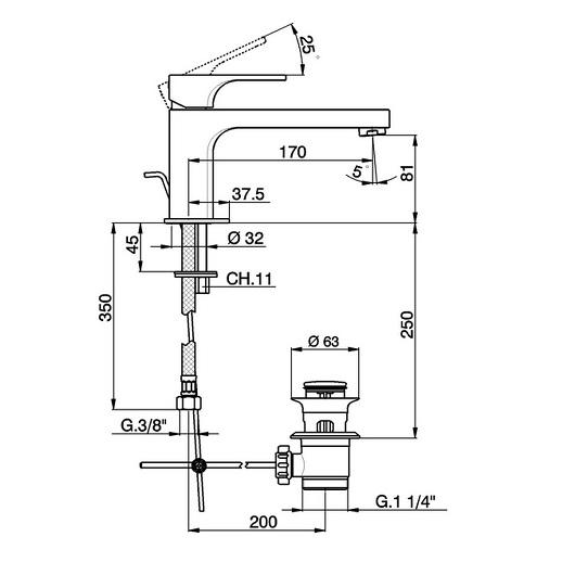 Смеситель для раковины Cisal Cubic CU00151121 (хром глянцевый)