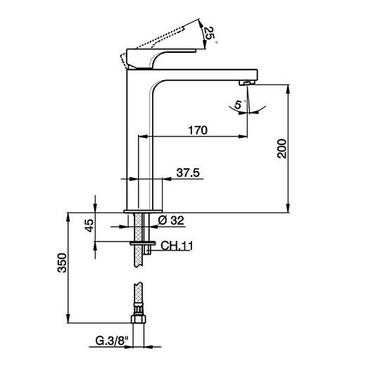Смеситель для раковины Cisal Cubic CU00354121 (хром глянцевый) высокий
