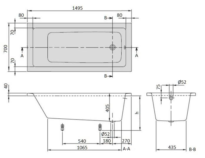 Ванна акриловая Villeroy & Boch Targa Plus 150х70 UBA150NES2V01 (белый Alpin) + U99740000