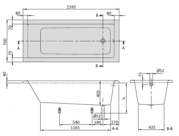 Ванна акриловая Villeroy & Boch Targa Plus 160х70 UBA167NES2V01 (белый Alpin) + U99740000