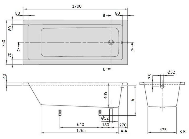 Ванна акриловая Villeroy & Boch Targa Plus 170х75 UBA171NES2V01 (белый Alpin) + U99740000