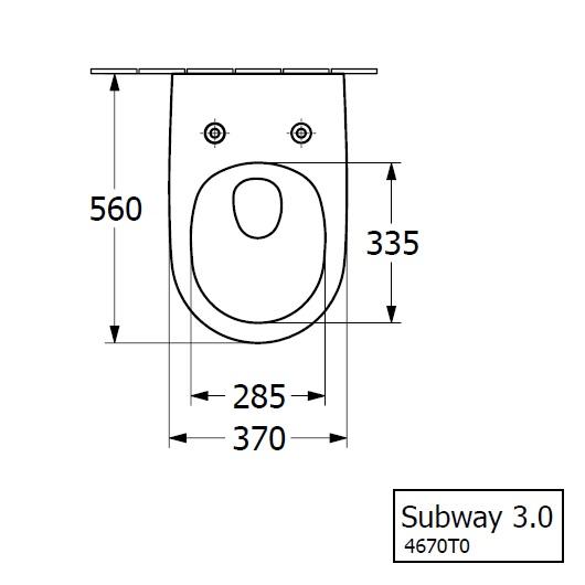 Чаша подвесного унитаза Villeroy & Boch Subway 3.0 4670T0R1 (4670 T0 R1) CeramicPlus, TwistFlush, без смывного обода