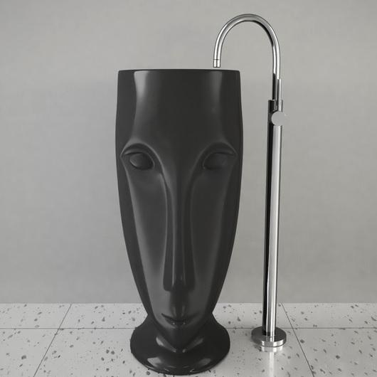 Раковина напольная Kerasan Artwork Moloco 474031 черная матовая (выпуск в стену)