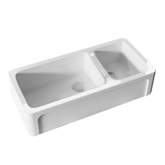 Кухонная мойка двойная Kerasan Hannah Oxfordshire 543001 (1003х470 мм) белая