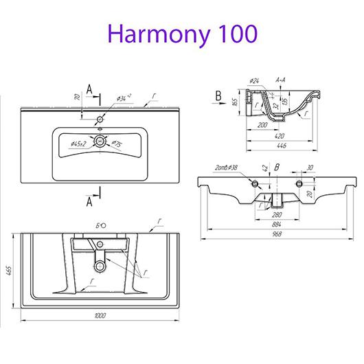 Раковина MYJOYS Harmony 100 641259 (1000х470 мм)