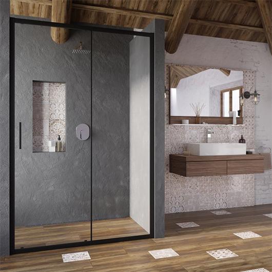 Душевая дверь Ravak Blix Slim BLSDP2-110 X0PMD0300Z1 (1100х1950 мм) профиль черный/стекло Transparent