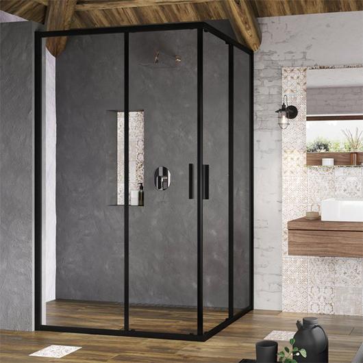 Душевая дверь для уголка Ravak Blix Slim BLSRV2K-120 X1XMG0300Z1 (1200х1200х1950мм) профиль черный/стекло Transparent