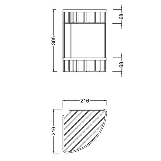 Угловая полка Timo Saona 13082/03 (двойная, черный матовый)