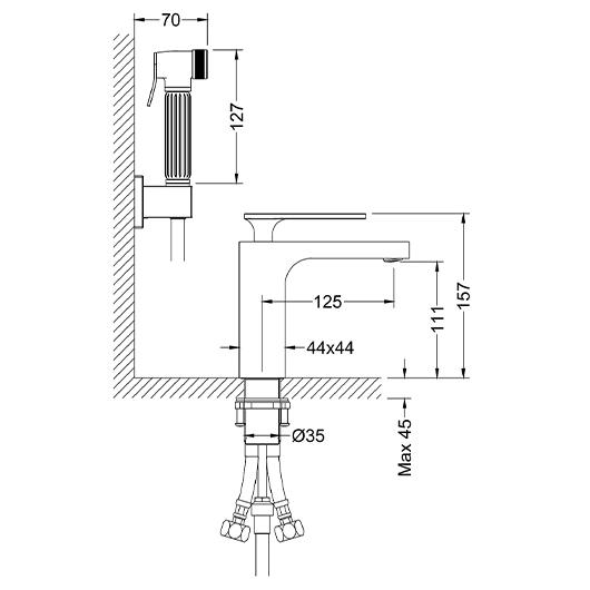 Смеситель для раковины Timo Torne 4360/00G (с гигиеническим душем, хром)