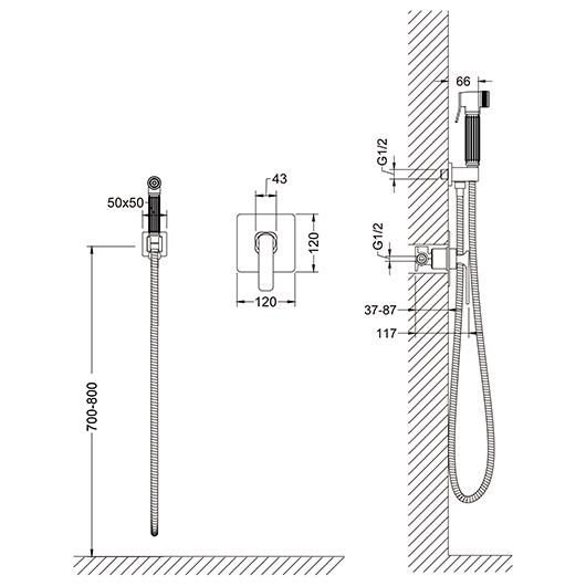 Гигиенический комплект Timo Torne 4389/03SM (черный матовый)