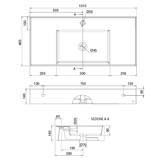 Раковина Scarabeo Teorema 2.0 100 5124BK (1000х460 мм) с покрытием BioKer
