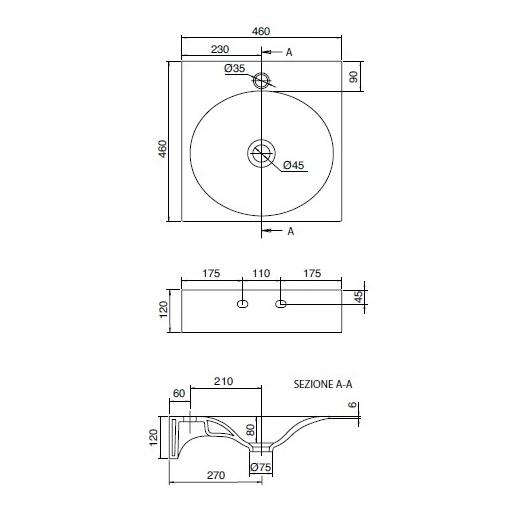 Раковина Scarabeo Veil 46 6101 (460х460 мм)