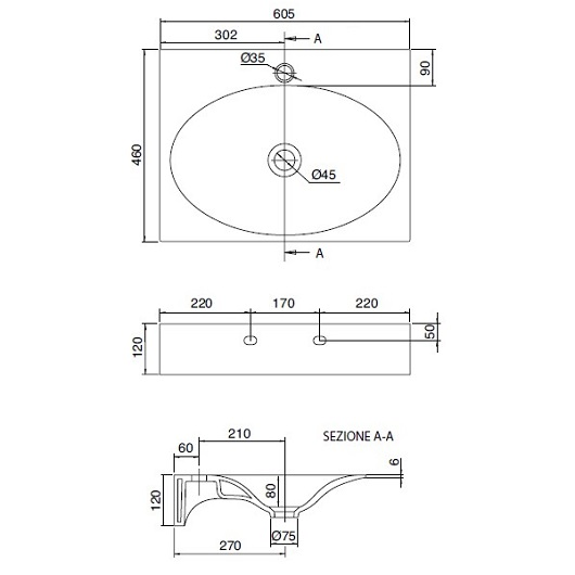 Раковина Scarabeo Veil 60 6102 (605х460 мм)