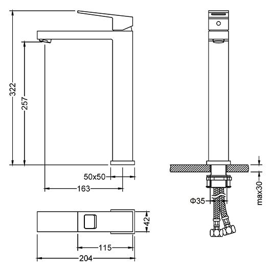 Смеситель для раковины Timo Briana 7111/03F (черный матовый)