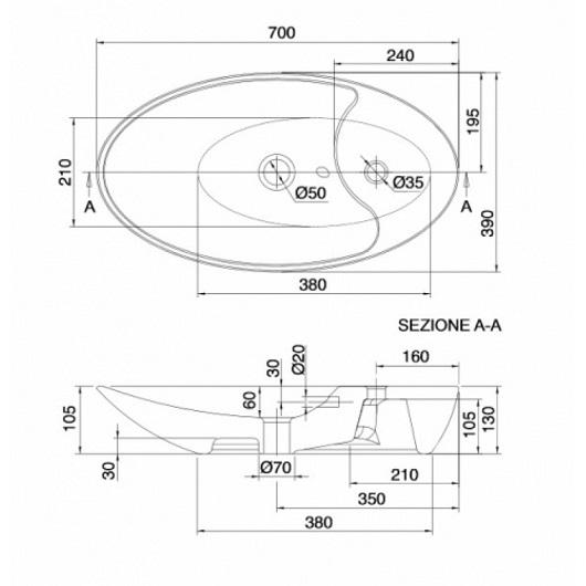 Раковина накладная Scarabeo Shape 8097 (700х390 мм)