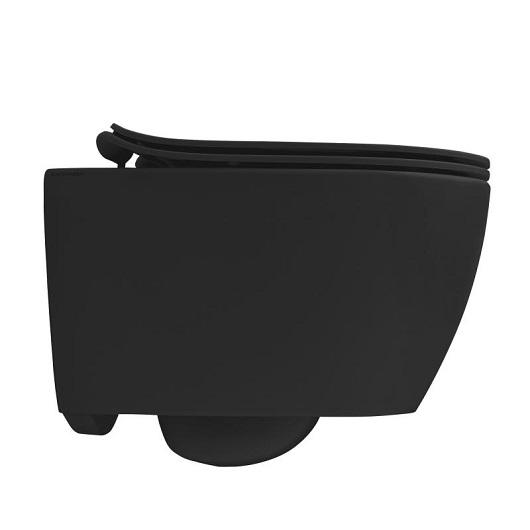 Сиденье с крышкой для унитаза Scarabeo Moon 5530/B/49 SoftClose (черное матовое)