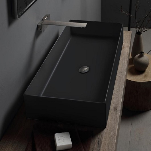 Раковина накладная Scarabeo Teorema 2.0 80 5102/49 (800х400 мм) черная матовая