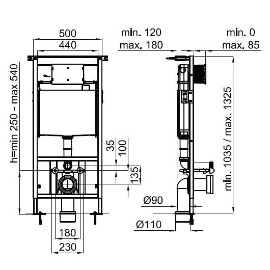 Комплект унитаз с инсталляцией Noken Arquitect 100178122/N390000049 (4 в 1)