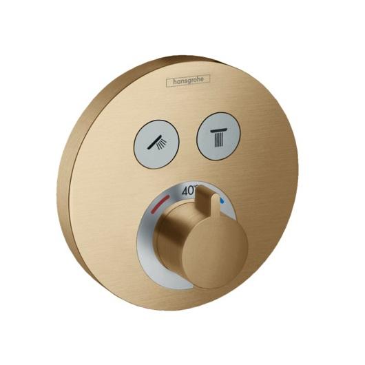 Термостат для 2 потребителей Hansgrohe ShowerSelect S 15743140 (шлифованная бронза)