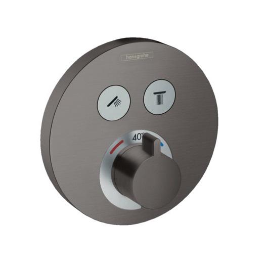 Термостат для 2 потребителей Hansgrohe ShowerSelect S 15743340 (шлифованный черный хром)