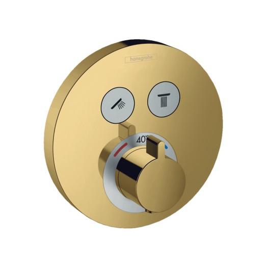 Термостат для 2 потребителей Hansgrohe ShowerSelect S 15743990 (полированное золото)