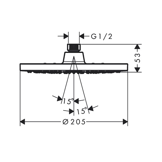Верхний душ Hansgrohe Vernis Blend 200 1jet 26271670 (205 мм, матовый черный)