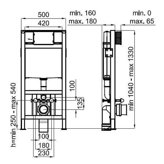 Инсталляция для подвесного унитаза Noken Smart Line 100104494/N386000007 отдельностоящая