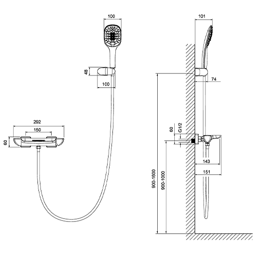 Смеситель для ванны Timo Helmi 4024/03Y  (черный матовый)